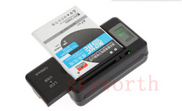 Wholesale S4 Docks - Universal Battery Charger Li-ion LCD Screen USB AC Phone Home Wall Dock Travel Samsung S3 S4 S5 Note 4 5 Nokia Huawei Cellphone