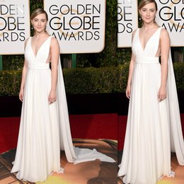 Wholesale Cheap Light For Chrismas - 2016 Golden Globe Celebrity Evening Gowns White Chiffon V-neck Wholesale Cheap Special Occasion Dresses For Women Party Cutaway