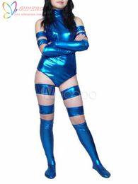Wholesale Sexy Leotard Men - Wholesale-High Quality Halloween Carnival Party Sexy Blue Halter Shiny Metallic Catwoman Leotard Zentai Suit