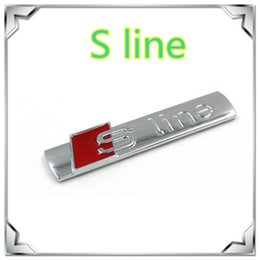 Wholesale 3m Metal Sticker For Cars - S Line Sline Metal Chrome Car Emblem Decal Badge Stickers with 3M Adhesive Backing Fit For Audi