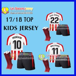 Wholesale Boys Athletic Shorts - new 2018 kids KITS Athletic Bilbao Socks 2017 SUSAETA GURPEGUI MUNIAIN Jersey Home 18 shirt Athletic Club Bilbao children Football uniform