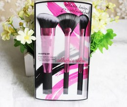 Wholesale Hair Care Kit - Newest rose pink 3pcs set sculpting brush set Professional Makeup brushes Synthetic Hair face care maquiagem beauty maquillaje