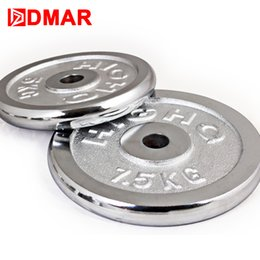 Wholesale exercise equipment for gyms - Wholesale- 1pc Electroplate Dumbbells Disk Weights for Fitness Weightlifting Crossfit Equipment Barbell Gym Home Muscle Strength Exercise