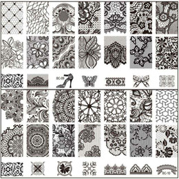 Wholesale Lace Nail - New Black Flower Lace 10PCS LOT 6*12CM Nail Stamping Plates Konad Stamping Nail Art Manicure Template Nail Stamp Tools