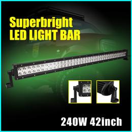 "Wholesale Led Dual Flood Lights - 240W 42"" CREE LED Light Bar Headlights Spot Flood Combo Dual Row Driving Light Truck Boat UTE Offroad 4WD Jeep lightbar Fog light"