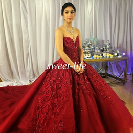 Wholesale Red Basques - Michael Cinco Luxury Wedding Dresses Ball Gown Sweetheart Burgundy Tulle Embroidery Crystal Chic 2016 Vintage Lace Bridal Gowns Custom Made