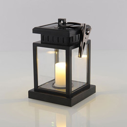 Wholesale Vintage Clamps - Vintage Solar Powered Lamp Waterproof Hanging Umbrella Lantern Candle Lights Led with Clamp Beach Umbrella Tree Garden Yard Lawn Lighting