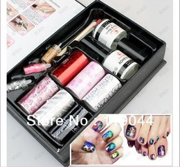 Wholesale Symphony Transfer Foil Nail Sticker - Wholesale-Free shipping Set of color Nail Art Foils Symphony Transfer Foil Nail Sticker Foil + Glitter+Adhesive NA655