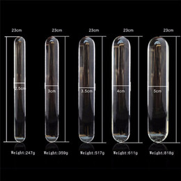 Wholesale Big Huge Penis - 9inch Glass dildo Big Huge Lage glass dildos Sex glass penis Crystal Anal Butt Plug Anal beads Sex toys for women