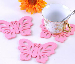 Wholesale Coasters Placemats - 2016 new Mats & Pads Coaster creative cartoon fashion creative coasters placemats butterfly heat pad mat manufacturers, wholesale