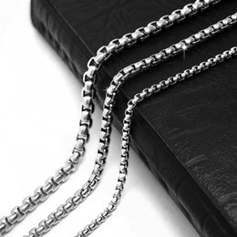 Wholesale China Wedding Supplies Wholesale - Stainless Steel Box Chain Finished Necklace with Lobster Clasp Jewelry Making Supply Silver Box Chain Anti-Tarnish Anti-Rust