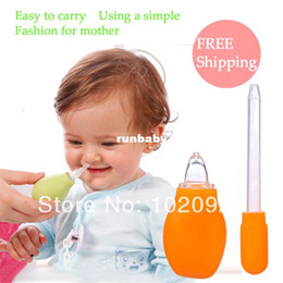 Wholesale Cleaning Suit - Free Shipping Newborn Nasal aspirator + Medicine feeding syringe Babies nasal cleaner suit with child Baby Supplies
