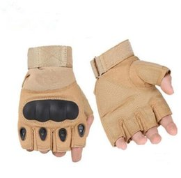 Wholesale Military Tactical Glove - Half finger gloves Military Tactical Gloves Antiskid Outdoor Finger Mittens Winter Thermal Men Fighting Leather army military