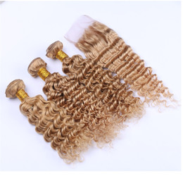 Wholesale Russian Deep Wave Hair - Strawberry Blonde Deep Wave 3Bundles With Lace Closure Russian Virgin Human Hair With Deep Wave Curly Lace Closure 4*4 Free Part #27 Blonde