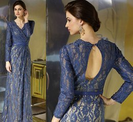 Wholesale Laciness Ribbon - Morden Column Mother's Dresses 2015 New V-Neck Blue Lace Long Sleeves Laciness Ribbon Zipper Back Floor-Length Formal Evening Gowns Custom