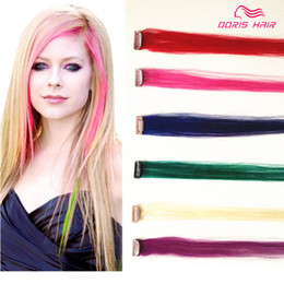 Wholesale Remy Mixed Clip - PINK human hair 5 Colours Mix 5pcs clip in Hair Extension brazilian peruvian Remy clip in Hair Extension red purple blue green hair