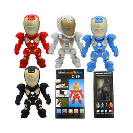 lighted readers Promo Codes - Xmas Gift C-89 Iron Man Bluetooth Speaker with LED Flash Light Deformed Arm Figure Robot Portable Mini Wireless TF FM USB Music MP3 Player
