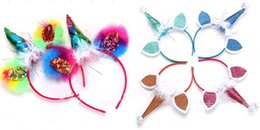 Wholesale Cosplay Bow - 10pcs girl kids Pompon Unicorn Horn Hair Clasp Headband Cosplay catgirl Crown HairBands Girl Hair Accessory Photo Prop Hair Sticks FJ3155