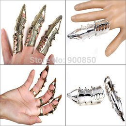 Wholesale Gothic Claw Rings - Wholesale-Fashion Unisex Gothic Punk Hinged Knuckle Full Finger Armor Rings Claw Bulk Women Men Party Jewelry