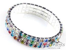 Wholesale Rhinestone Crystal Elastic Bracelet - HIGH Free Shipping Bracelets Multi-Colors 4mm Crystal Elastic Mixed Colors Multi-Color 3 Rows Rhinestone Resin Crystal Bangle
