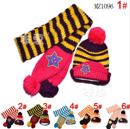 Wholesale Knitted Hat Buckle - Wholesale-2015 new Labeling stars on both sides buckle boys Knitted hats winter 2 pcs baby girl scarf hat set Age for 2-5 Years Old