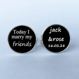Wholesale Name Cufflinks - free shipping 1Pair Today I marry my best friend custom name and date wedding Cufflinks - Groom Cufflinks -Wedding Cuff Links 12