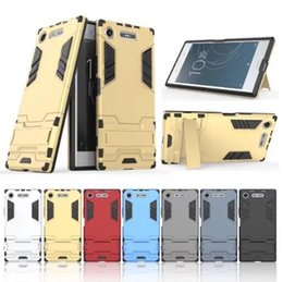 Wholesale Xperia Protective Cover - For Sony Xperia XZ1 G8341 Fashion Rugged Combo Hybrid Armor Bracket Impact Holster Protective Cover Case For Sony Xperia XZ1 G8341 G8342
