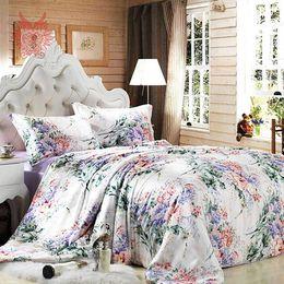 Wholesale floral king pillowcases - Wholesale-Home textile Luxury purple floral print16mm100%silk bedding sets,duvet cover pillowcase bedding sheet total4pcs King sizeSP1424