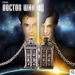 Wholesale Doctor Retro - Doctor Who Tardis Necklace Police Box Necklace Retro Style Silver Bronzed Color Mix 24pcs Free Shipping 0425B4