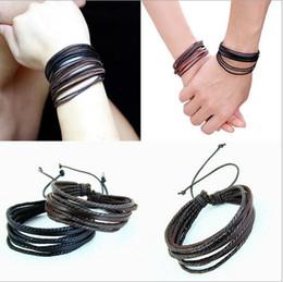 Wholesale Hand Painted Leather - Monochrome Leather Bracelet Pure Hand-painted Leather Rope Bracelets Tribal Women Men Surfer Wrap Multilayer Leather Cuff Bracelet