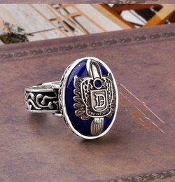 Wholesale Vampire Diaries - US drama the Vampire Diaries Damon Rings Retro Silver lapis lazuli Punk Ring Size19 # ( inner diameter of 1.87 cm)