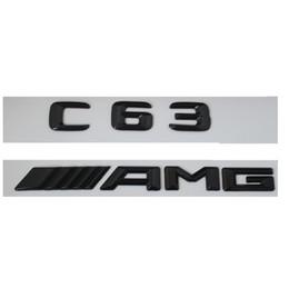 Lettres plastiques 3d en Ligne-Emblème d'insigne de coffre arrière de lettres du nombre 3D brillant noir pour Mercedes Benz C63 AMG