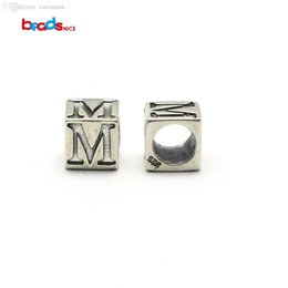 Wholesale Bali Bead Caps Wholesale - Wholesale-Beadsnice square beads for jewelry 925 sterling silver bali 7.5x7.5mm round hole approx 4.5mm european beads with letters ID7130