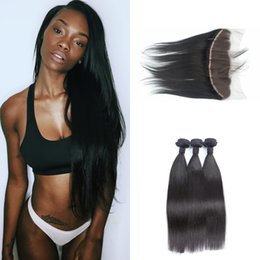 Wholesale One Bundle Malaysian Straight Hair - G-EASY Lace frontals closure 13x4 bleached knots Vietnamese straight virgin hair weave 3 bundles deals with frontal closure free shipping