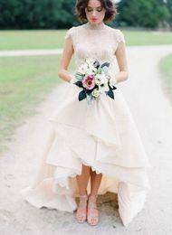 Wholesale Crystal Strapless White Wedding Dresses - High Low Hem Lace Wedding Dress Top Lace High Neck Cap Sleeves Bridal Wedding Gown Front Short Back Long Garden Wedding Dress