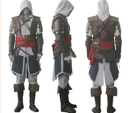 Wholesale Wholes Tvs - Assassin's Free shipping Creed IV 4 Black Flag Edward Kenway Cosplay Costume Whole Set Custom Made Express Shipping