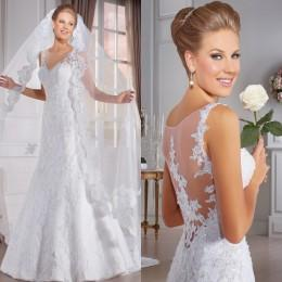 Discount backless wedding dress veils - 2016 Mermaid Wedding Dresses Bridal Gowns Princess Sheer Neckline Trumpet Style Beaded Appliques Cheap Wedding Gowns Free Gift Veils
