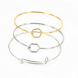 Wholesale 18k Gold Wire Wholesale - 2018 Best Selling Silver Plated Stainless Steel Harmony Wiring Bangle for Beading Expandable Charms Bangles Metal Bracelets 20pcs lot