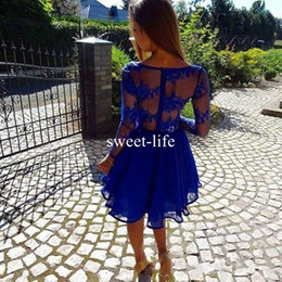 Wholesale Garden Hand Water - Garden Sexy Romantic 2017 A Line Prom Dresses V Neck Hollow Long Sleeve Mini Illusion Bodice Royal Blue Sexy Back Celebrity Dresses