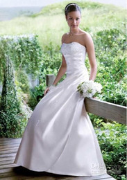 Wholesale Simple Elegant Dress Designs - 2015 new design A-line satin wedding dresses simple elegant lace-up bridal cheap price dresses in stock free shipping high quality