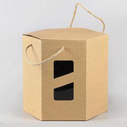 24 * 24 * 22 cm Grande Hexágono Caixa De Papel Kraft Para O Presente Do Boutique Embalagem Caixa de Caixas de Embalagem Do Presente Do Favor de Festa de Casamento ZA5128 cheap large gift favor boxes de Fornecedores de grandes caixas favor favor
