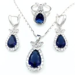 Wholesale Wedding Jewelry Sets Royal Blue - Fashion 925 Sterling Silver Jewelry Set Clover Style Necklace & Earring&Ring For Wedding Accessories royal blue Jewelry Set