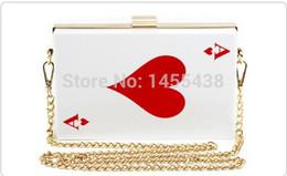 Wholesale Pocket Poker - 2015 Newest Poker Women Bags Ace Handbag female clutch bridal chain bag over Shoulder messenger clutch bag wallet black