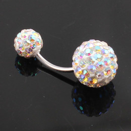 Wholesale Navel Belly Jewelry - Crystal Double Disco Ball Ferido Belly Bar Navel Belly Button Ring Shamballa Belly Ring Piercing jewelry 10mm