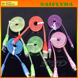 Wholesale Iphone Flat Cables Light - LED Visible Micro USB V8 Charger Cable for Samsung Galaxy S4 i9500 S5 i9600 Note2 N7100 Note3 N9000 Data Smile Color Light Up 1M Flat Cord