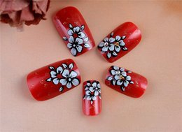 Wholesale Cheap Nail Design Tips - Wholesale-2015 New Cheap Girls Bride Pre Designed ABS Re Printed False Nail Full Nail Tips with glue
