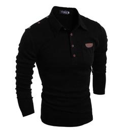 Мужская чистый цвет груди наклейка, ретро кнопка, самосовершенствование с длинным рукавом отворот футболки от