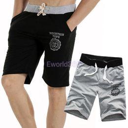 Wholesale Casual Beach Pants For Men - Wholesale-Super Quality Mens Casual Cropped Beach Trousers Sports Gym Short Pants Slacks Jogging Black Gray M L XL XXL for Xmas