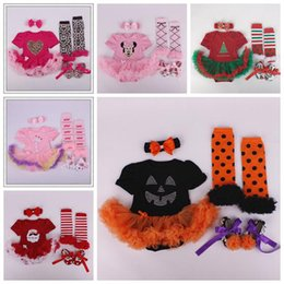 Wholesale Baby Tutu Socks - baby Halloween Christmas clothes newborn Minnie Leopard Sweet rompers + bow headbands + leggings socks + shoes girls ruffle tutu lace outfit