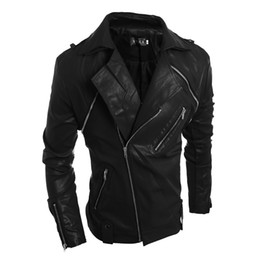 Wholesale Leather Jacket For Short Men - Newest Cool Jacket For Men Slim Fit Lapel Neck PU Leather Motorcycle Faux Leather Outerwear free shipping